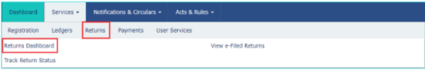 Step 2:  Then, in the Services menu, click on the Returns Dashboard.